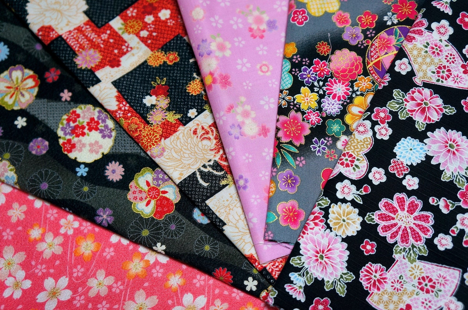 Japanese Fabric Kimono Fabric Scrap 6 Pieces VC5 by ...