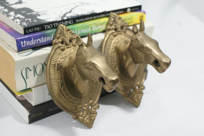 Vintage Equestrian Wall Horse Hook. Coat Hooks. Pair of Brass Horses for Mudroom. House of Fig Style