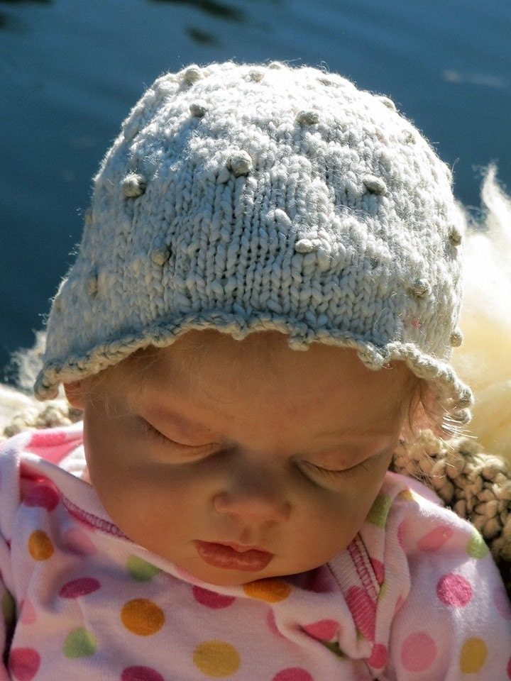 Organic Baby French Knot Knit Cap, Cream and Pale Khaki