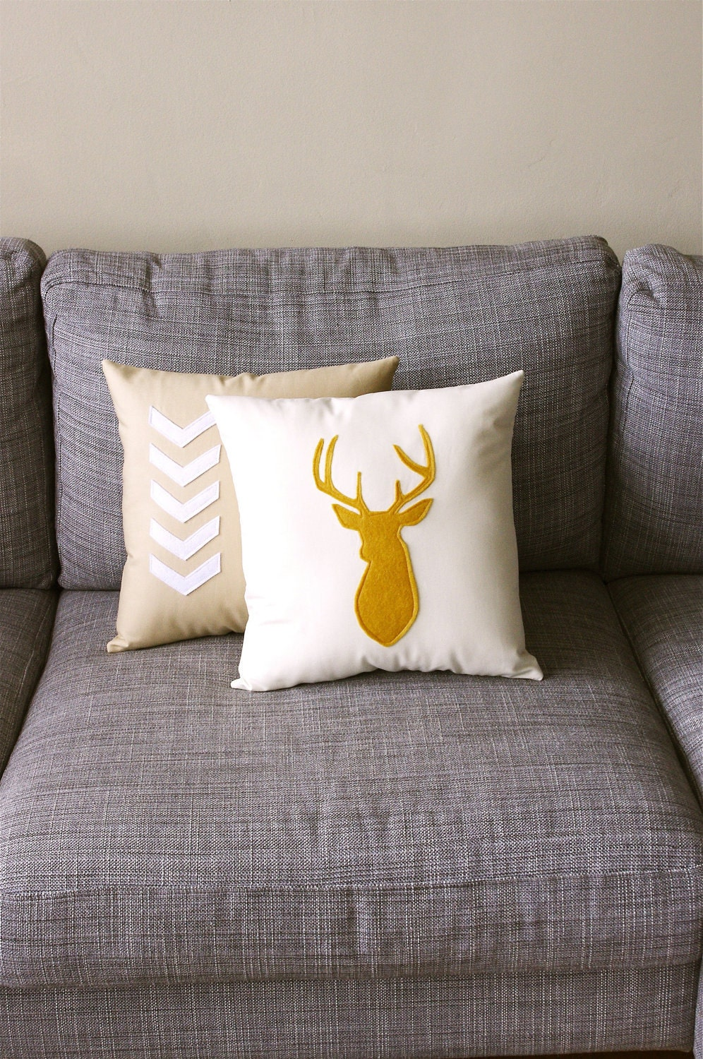 Mustard & Linen Decorative Deer Pillow  - 14X14 - yellow and beige - regansbrain