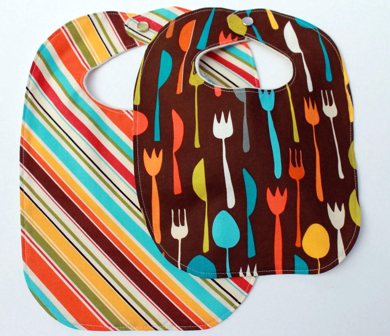 newborn baby bib.  fork, knife and spoon.  gender neutral.