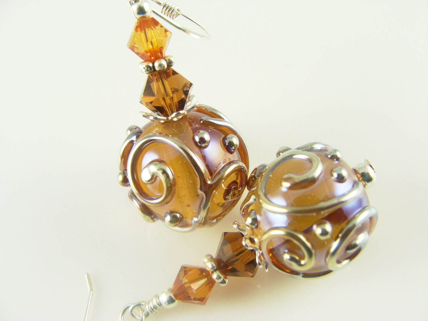 Amber Brown Lampwork Earrings, Dangle Earrings, Glass Bead Earrings, Lampwork Jewelry, Beaded Earrings, Silver Earrings