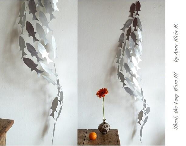 Long Metal Wall Decor : Shoal the long wave iii metal art sculpture by kleinmanzanoart