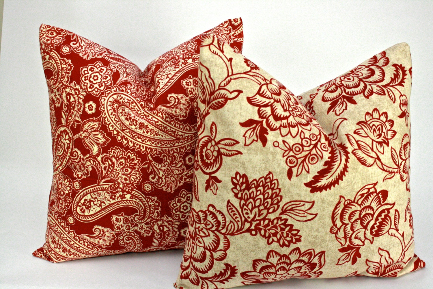 Brick Red and Tan Pillow Covers in Paisley and Floral by StyleItUp