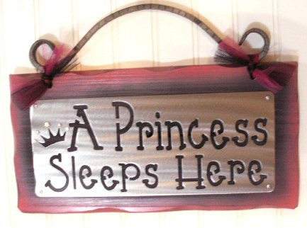 PRINCESS Sleeps Here GIRLS SIGN Decor Wall Hanging Classy Elegant baby shower - Kotamoon