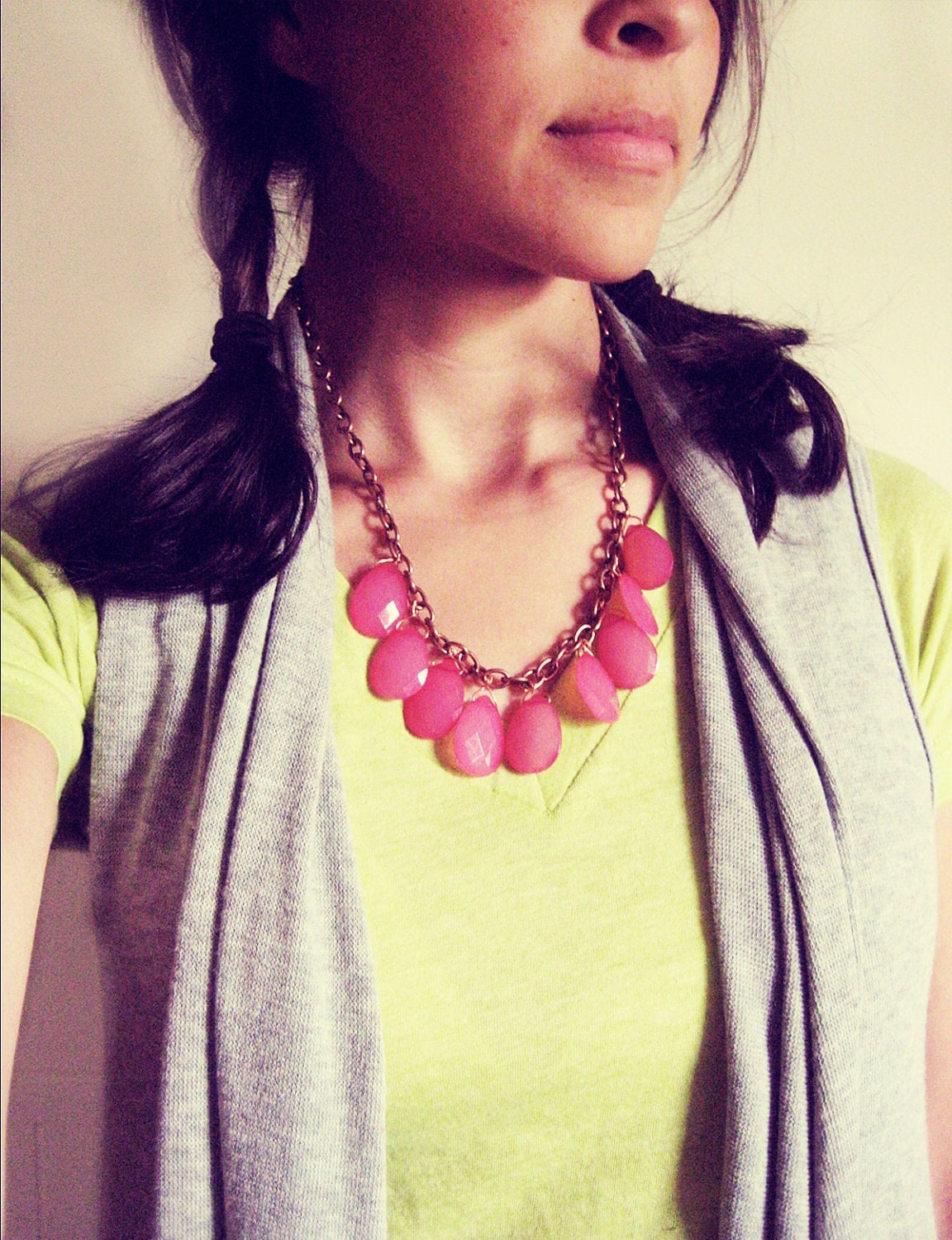Honeysuckle Teardrops Statement Necklace