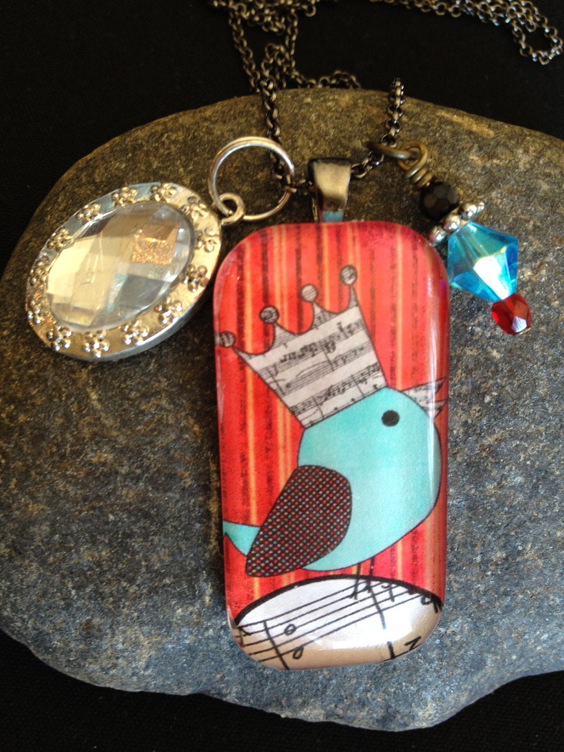 Blue Bird with Crown glass tile pendant necklace