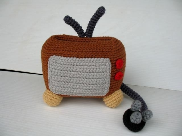 Crochet Cell Phone Holder - TELEVISION
