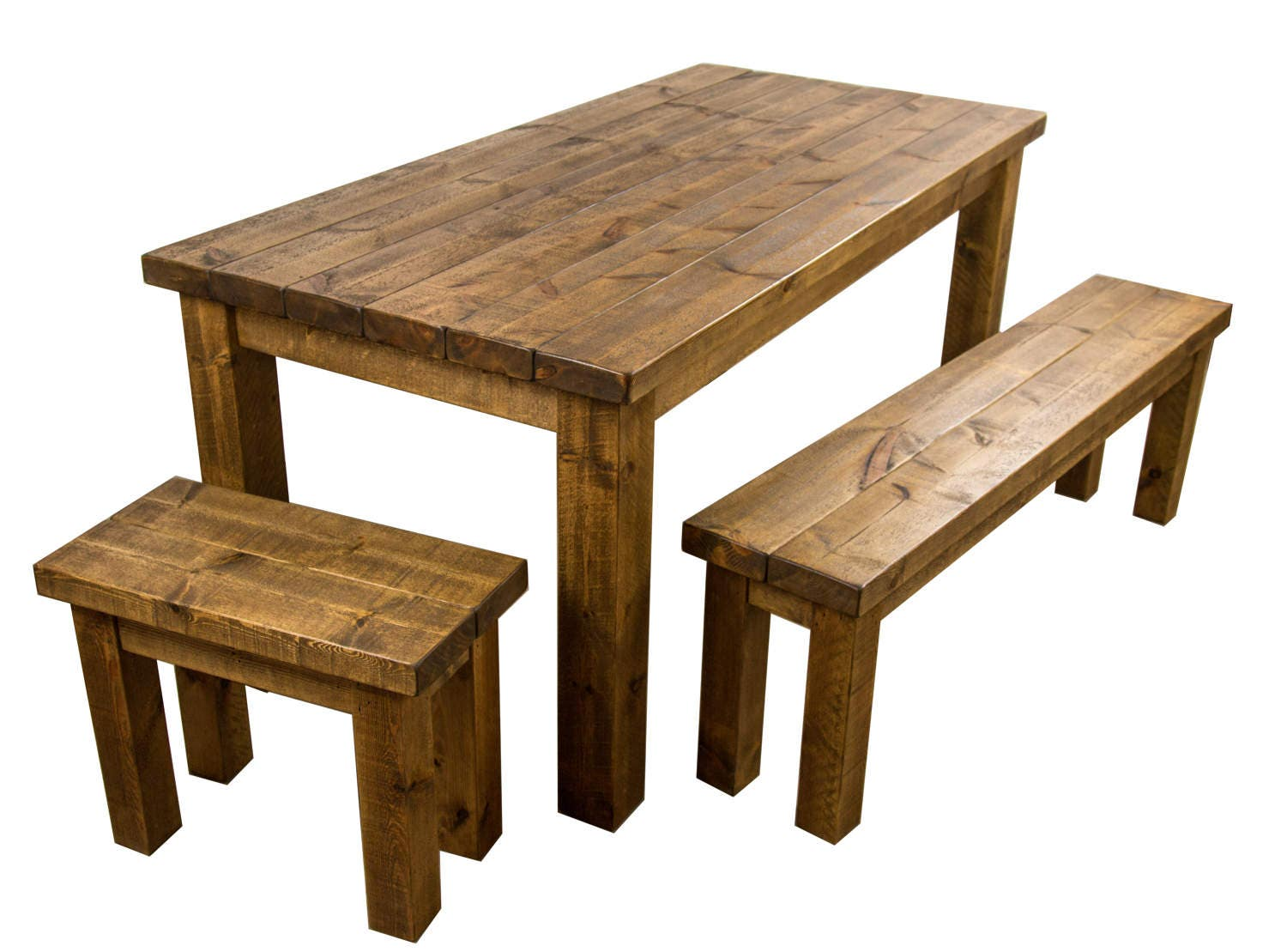 Rustic wooden farmhouse dining table with benches Solid wood Medium oak finish Free delivery  installation to UK Mainland (tcs apply)