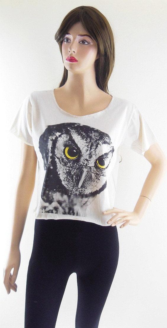 Owl Glasses Animal Design Women Shirts Crop Top Tee Shirt Cream T