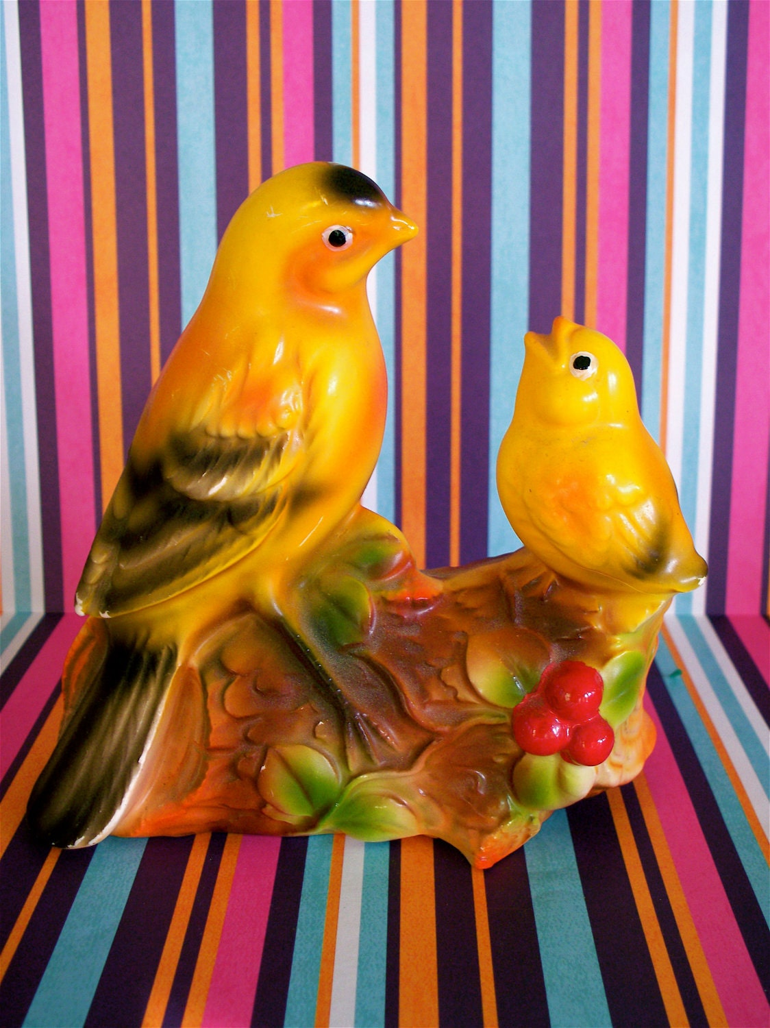 Vintage  Kitsch Norleans Yellow Mother and Baby Birds Perched on a Log