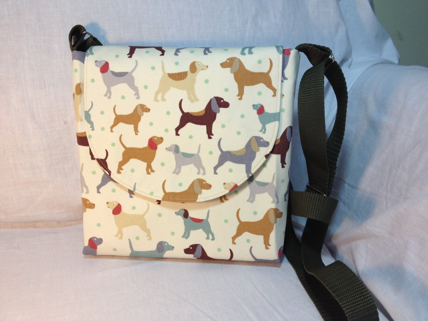 Canvas Dog Walkers Bag Messenger Bag Dog Treat Bag Dog Lovers Bag in Cream lined with a Multispot cotton