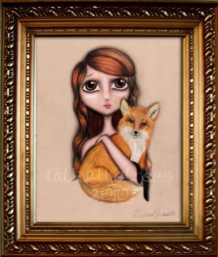 Frances and Fox 8x10 Print mixed media painting woodland animal