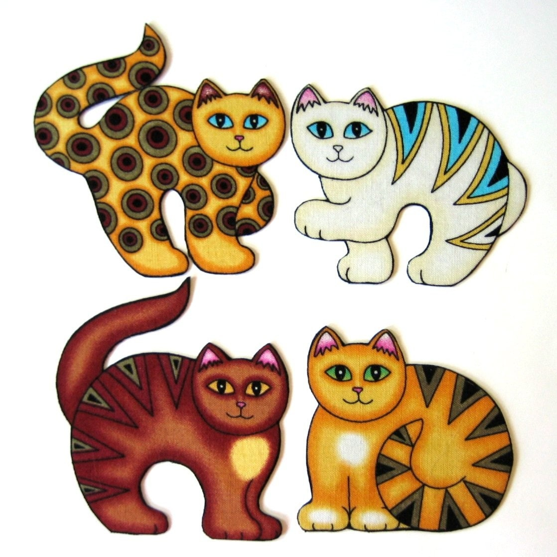 Four Large Abstract Fabric Cat Magnets