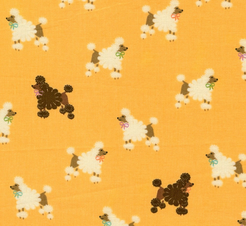 Adorable Poodles on Yellow Kawaii - Japanese Fabric Half Yard (Last Piece)