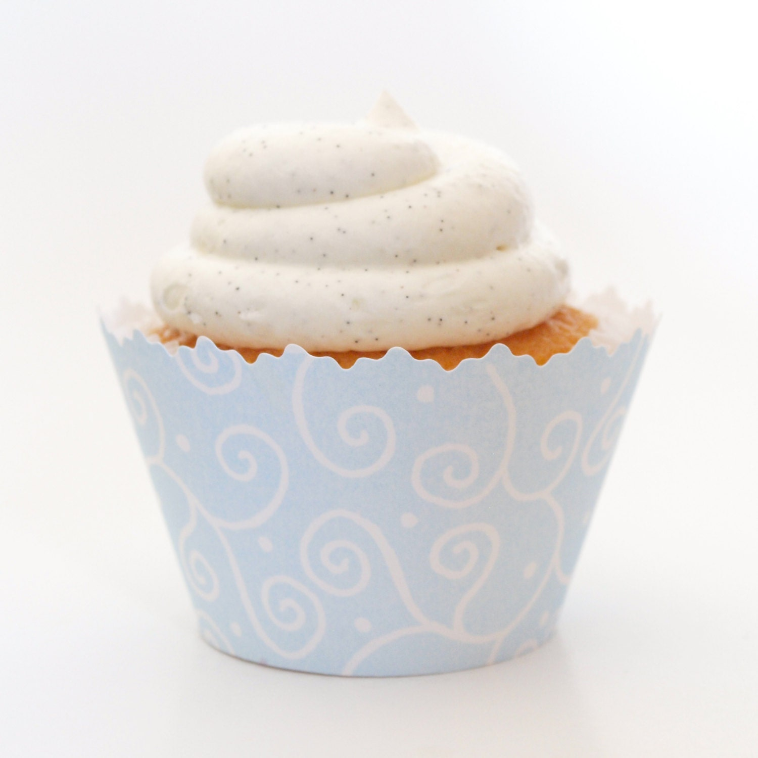 Pastel Blue Swirl Cupcake Wrappers-Set of 12-Boy Baby Shower Idea, Winter Wedding Favors, Spring Engagement,  Formal Dinners, Bridal Showers - simplywrappers