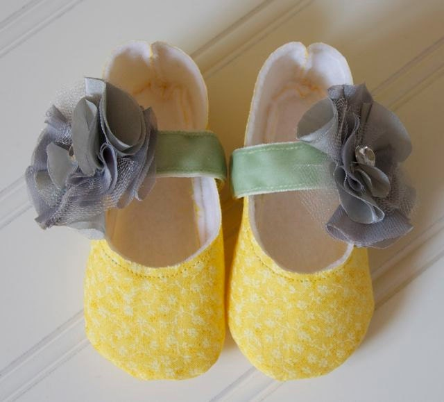 Yellow Mary Jane Baby Girl Shoes with Gray Flower and Green Ribbon