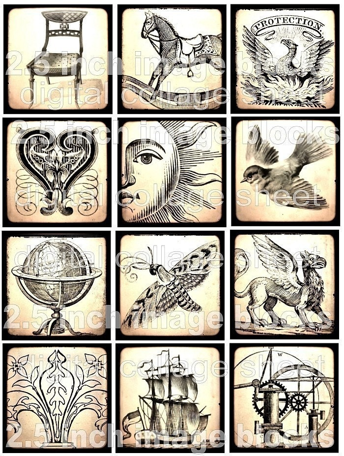 NeW aNTiQUeD 2.5 inch image BLoCKs aGeD sTaiNeD antique vintage paper ephemera SuN HeaRT RoCKiNG HoRSe BiRD Sail Ship CHaiR GloBe original digital collage sheet download altered art handmade greeting cards glass pendant slides scrapbooking supplies sh01