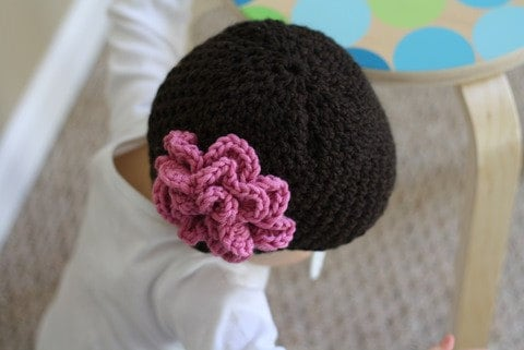 Hand Crocheted Chocolate Brown Baby Hat with Pink Accent Flower Size 0-3 Months