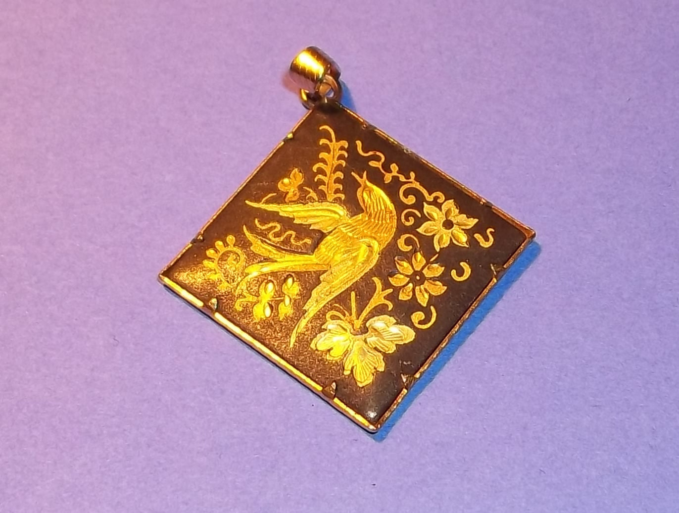 Vintage Italian Damascene Necklace Pendant Estate Bird