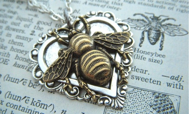 Bee Necklace Heart Necklace Gothic Victorian Mixed Metals Lightweight Pendant Feminine Vintage Inspired Steampunk Style Jewelry - CosmicFirefly