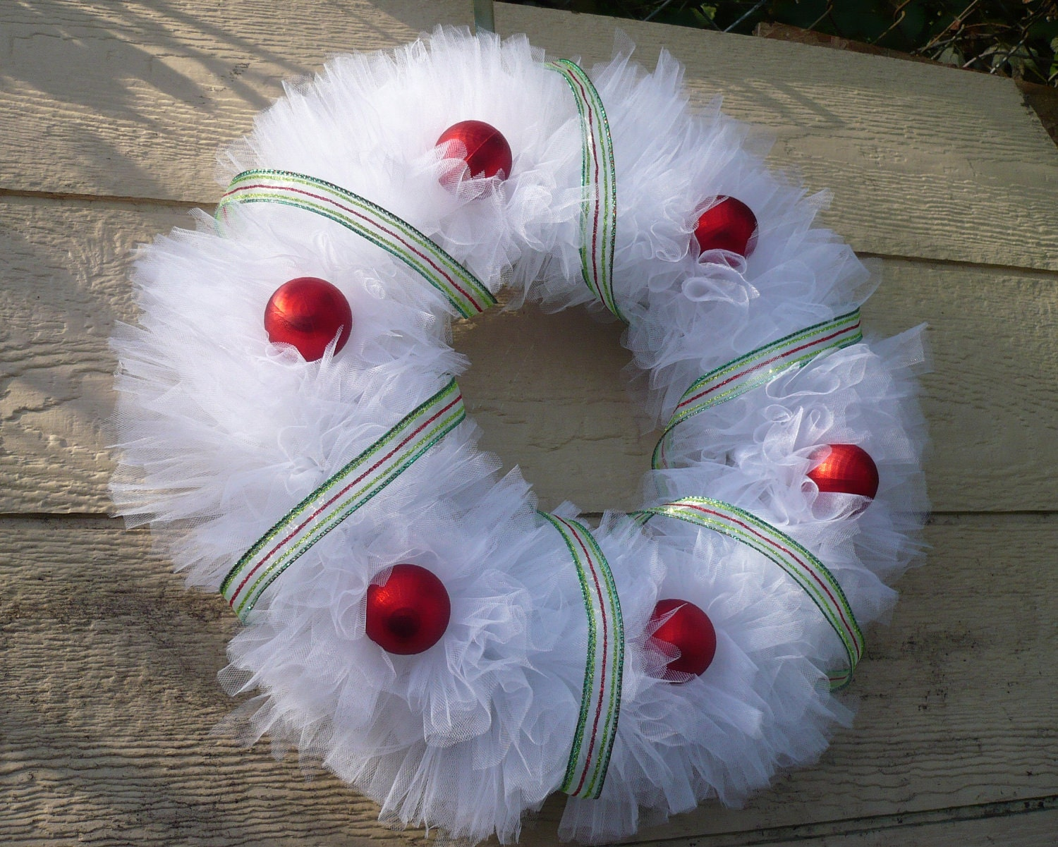 Christmas wreath tulle sparkly stripe organza by seasonsational