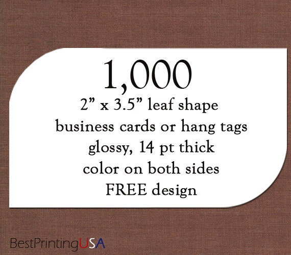 1000 leaf shape business cards thick glossy by BestPrintingUSA
