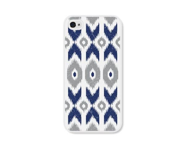 Cobalt Blue Geometric Ikat Apple iPhone 5 Case - iPhone 5 Cover - Tribal Southwest iPhone 5 Skin - Grey Cell Phone - fieldtrip