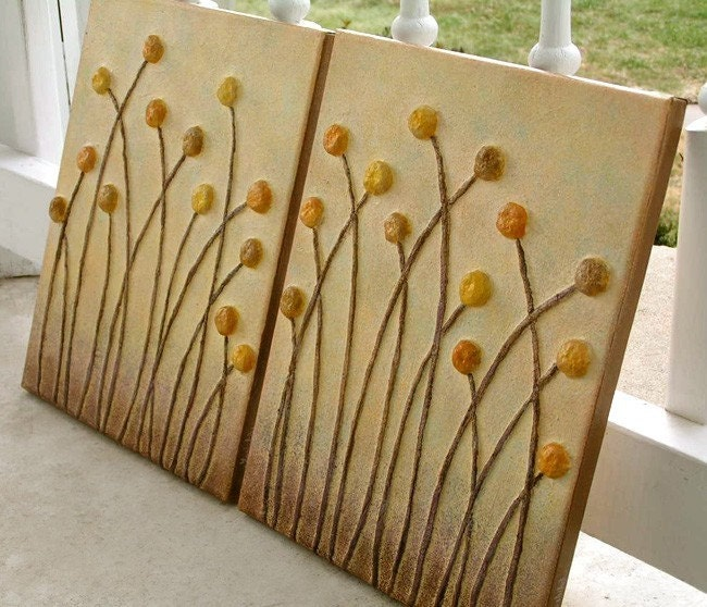 2pc 3D Relief Wall Art --Golden Meadow-- Made To Order
