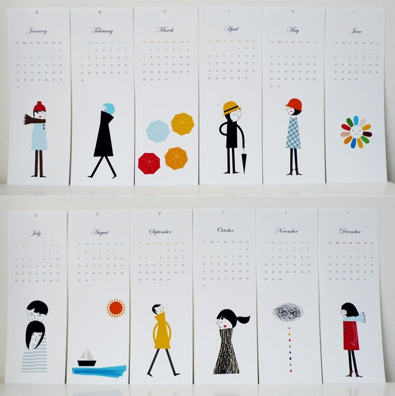 Simple but charming calendar, via Etsy: blancucha, USD$25