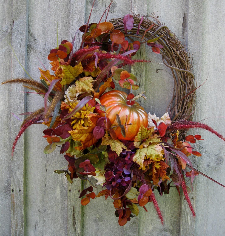 Fall Wreath, Autumn Wreaths, Pumpkin Decor, Fall Woodland Wreath, Halloween Decor, Thanksgiving Wreath - NewEnglandWreath