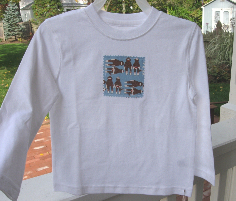 Boys Long Sleeve Tshirt - Sock Monkey Design - 2T