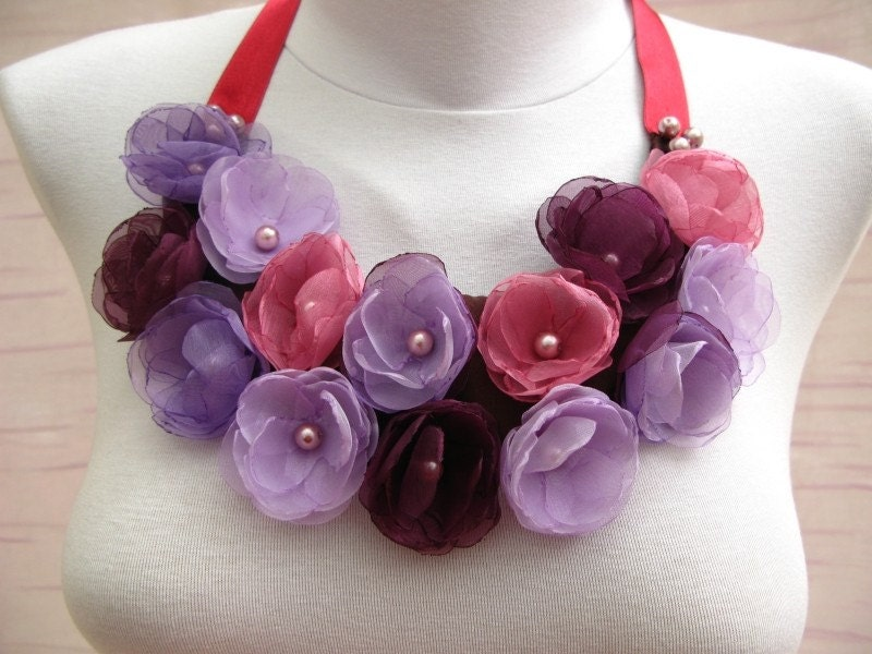 Rose Garden Bib Style Necklace with Eggplant Purple, Dark Peach, Lilac Color Organza   Fabric Roses and Glass Pearls on Satin Fabric (OOAK)