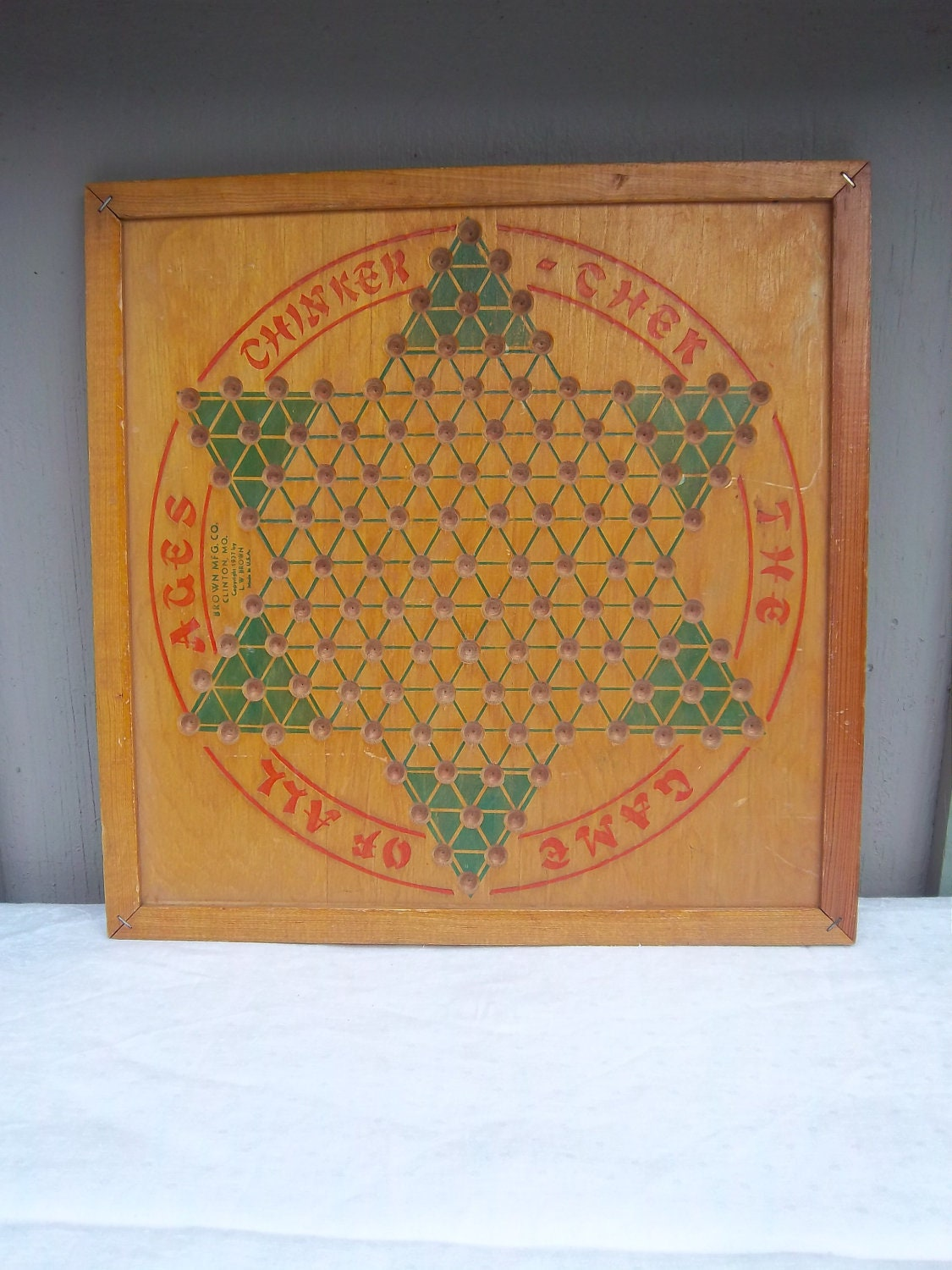 Antique Wooden Game Board Chinese Checkers By