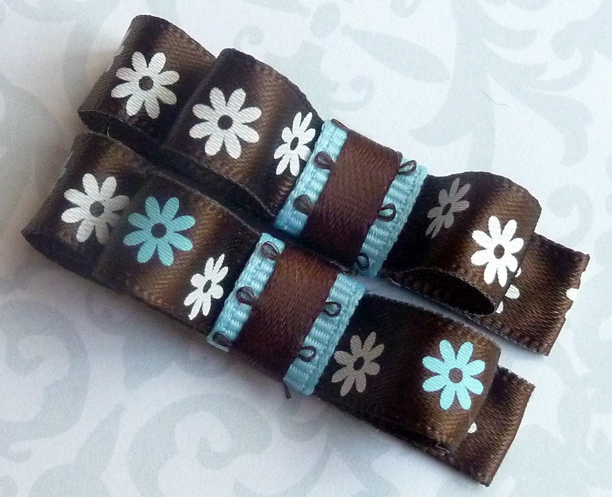 DAISY DAISY (Blue n Brown) - Set of 2 Boutique Style Hair Bow Clips