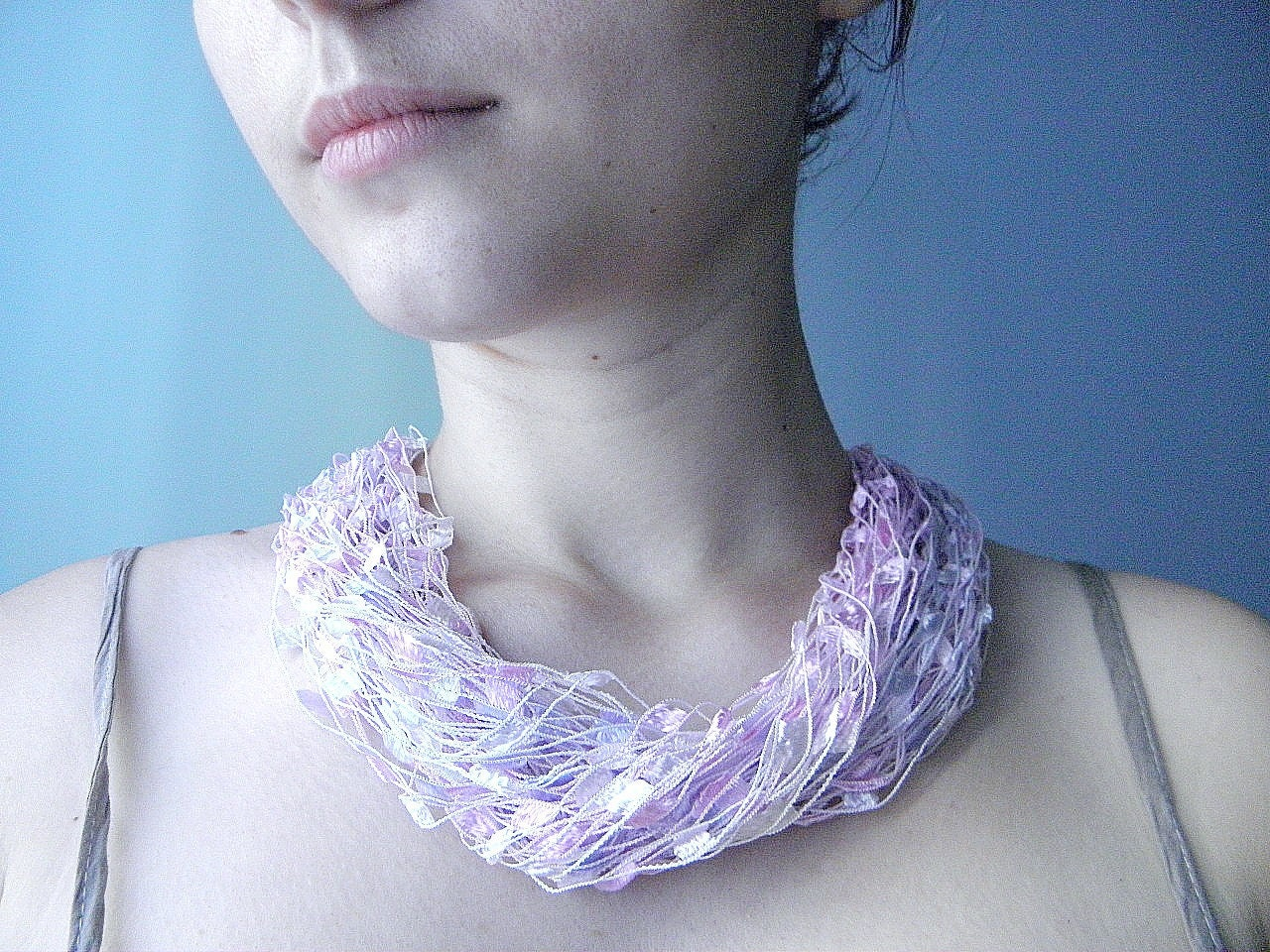 Silk ribbon and acrylic necklace