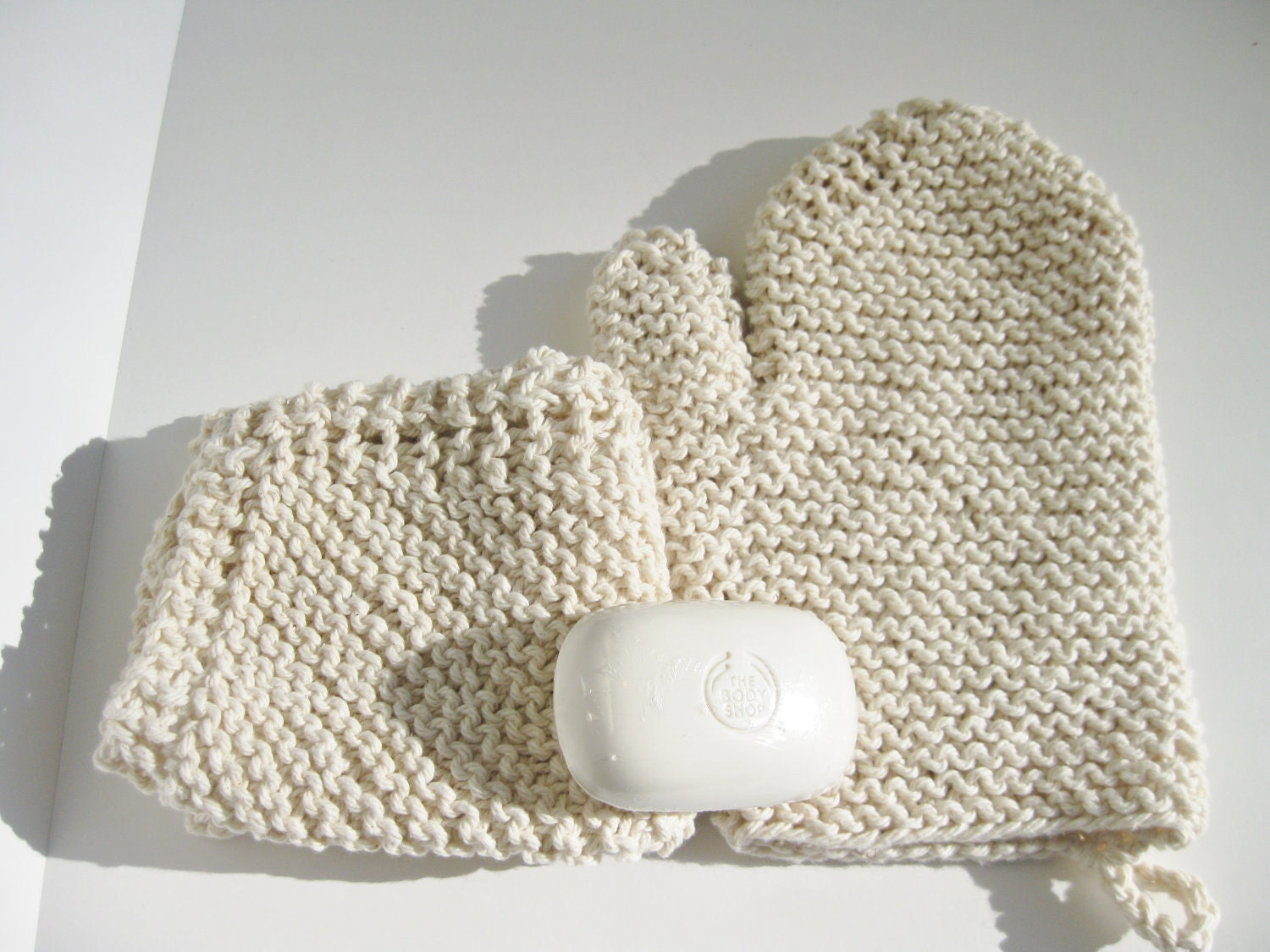 Cotton Spa Set - Mitt, Washcloth and Soap, Natural ecru