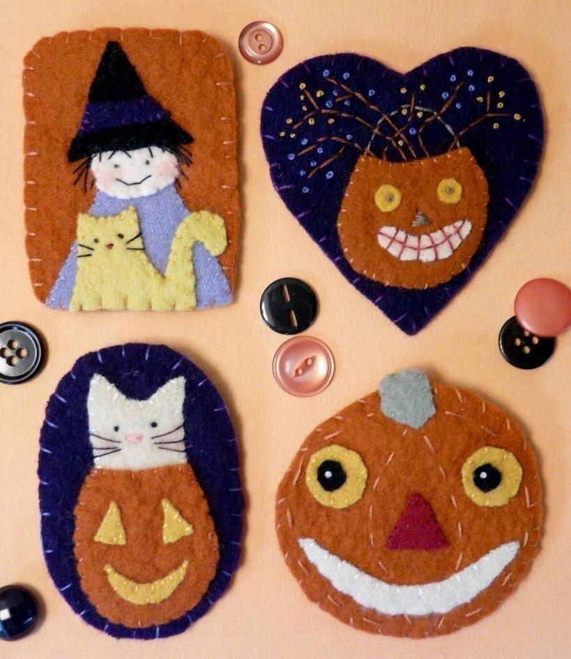 Spooky Halloween WOOL PINs E PATTERN primitive felt WITCH cat pumpkin man pin brooch vintage look jewelry