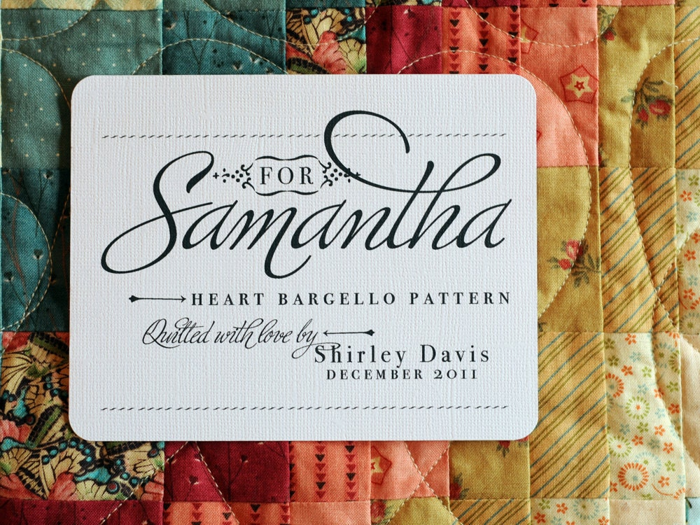 Personalized Quilt Label For Her Patch by shannahjsmith on Etsy