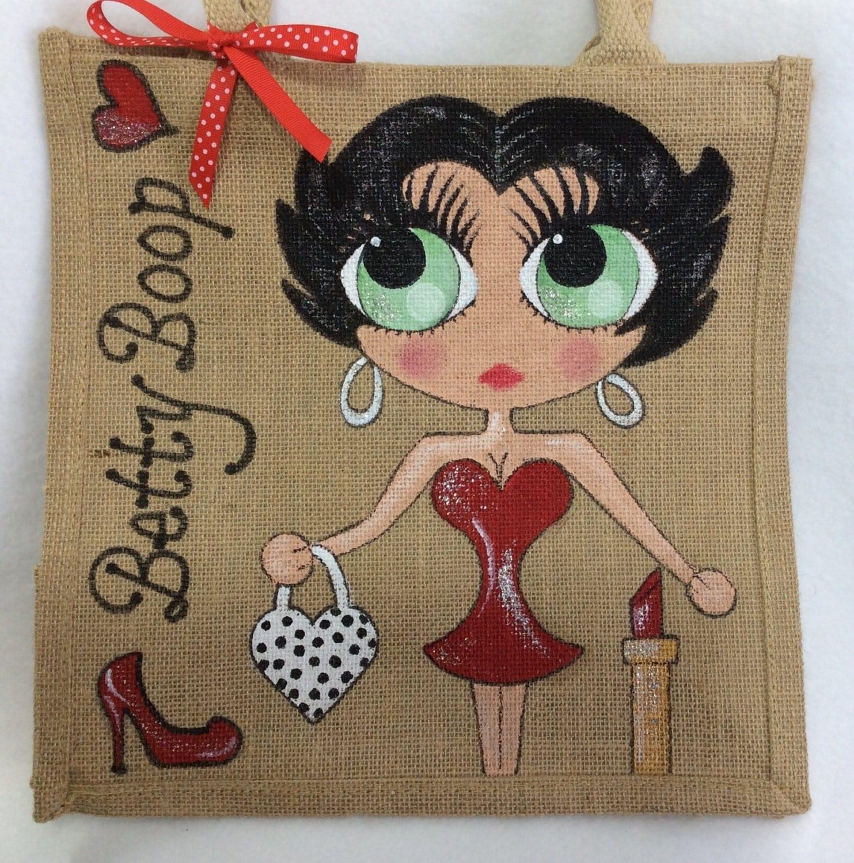 Handpainted Personalised Betty Boop Jute Handbag Gift Bag Hen Party Celebrity Style