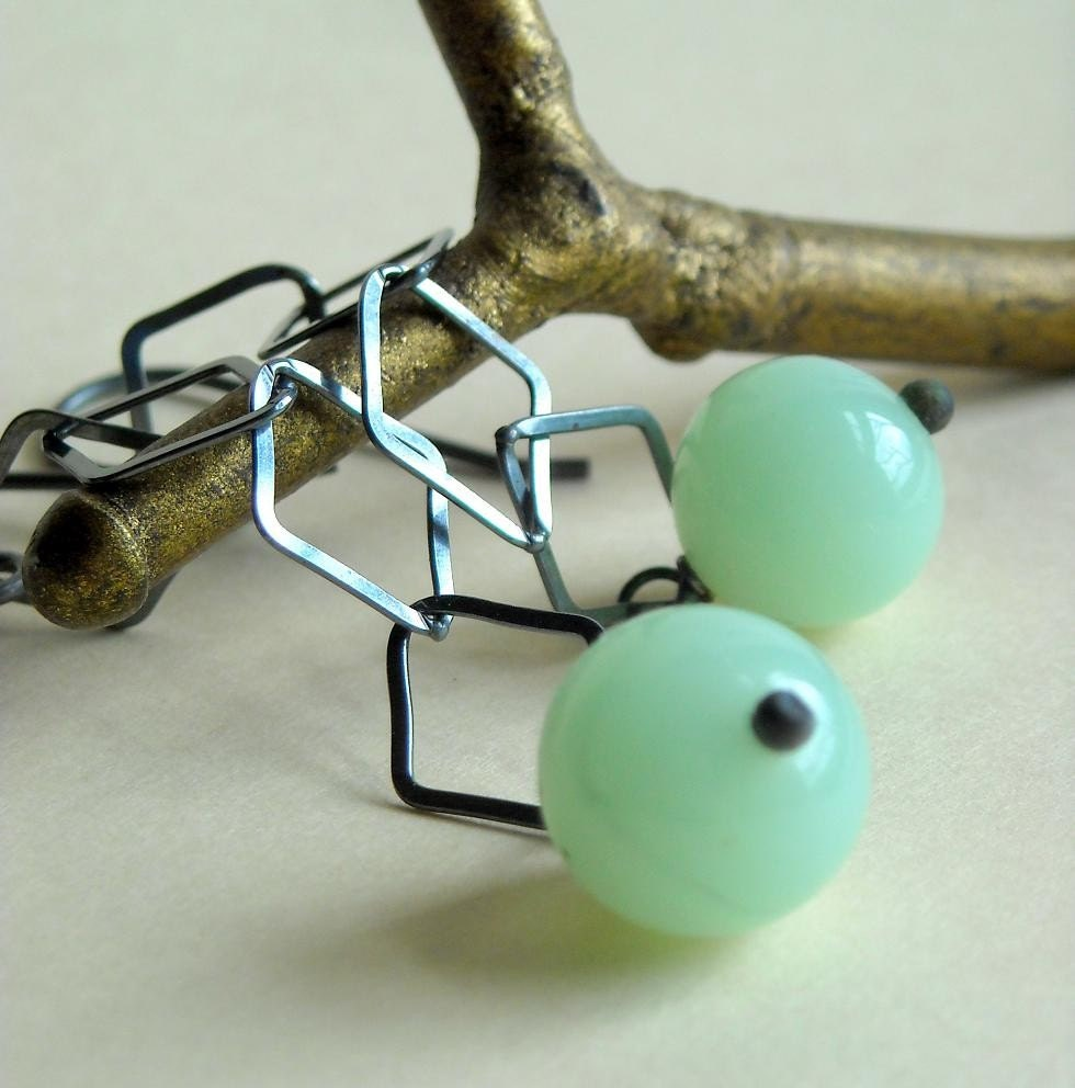 Pale Bliss Earrings - Vintage Glass and Sterling