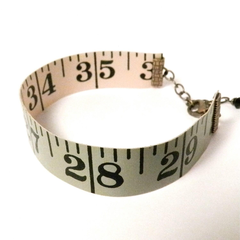 Vintage Measuring Tape Bracelet - Reversible - Green & White - Antique Brass - creativityismessy