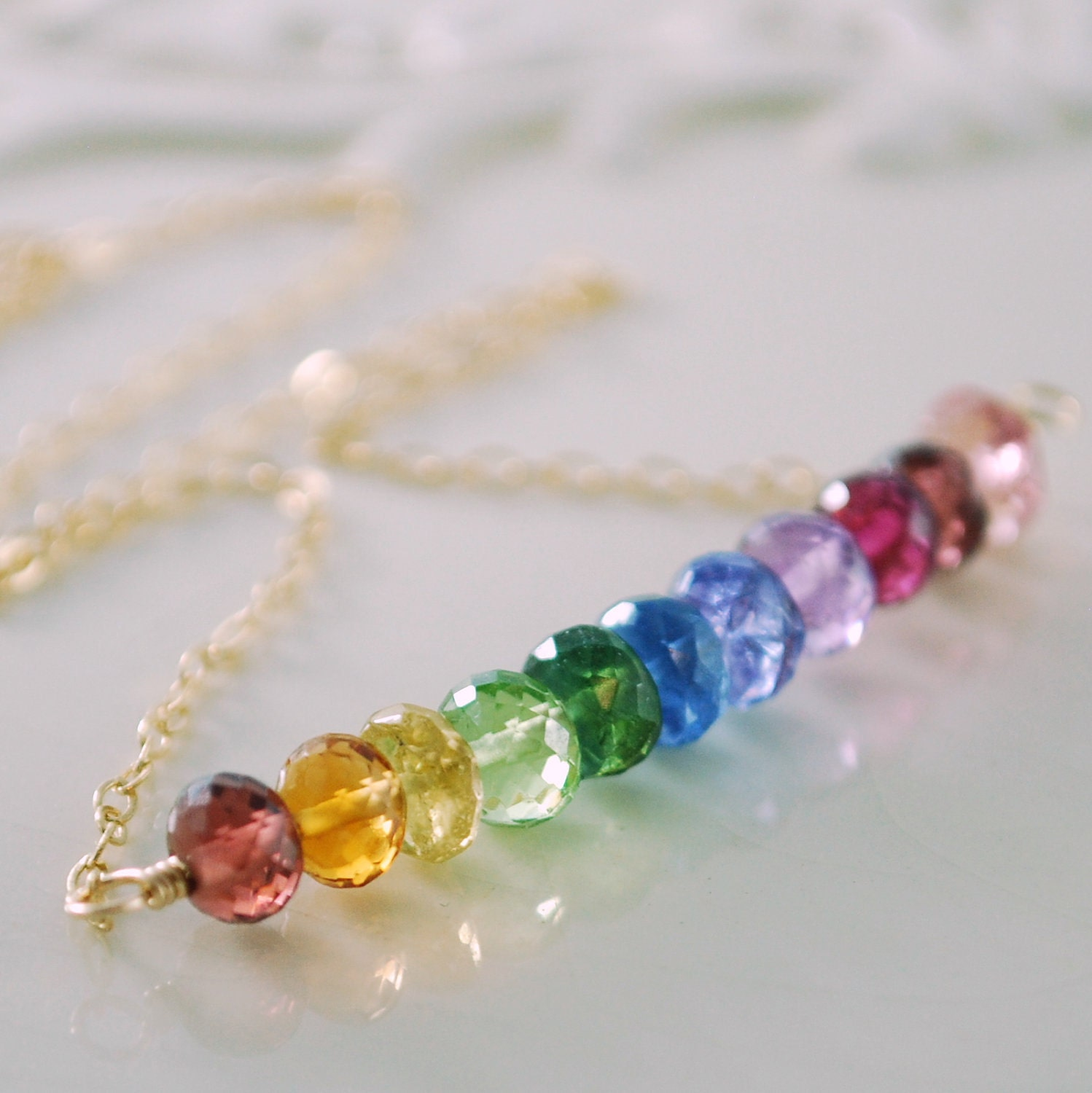 rainbow necklace bright colorful gemstone row aaa by