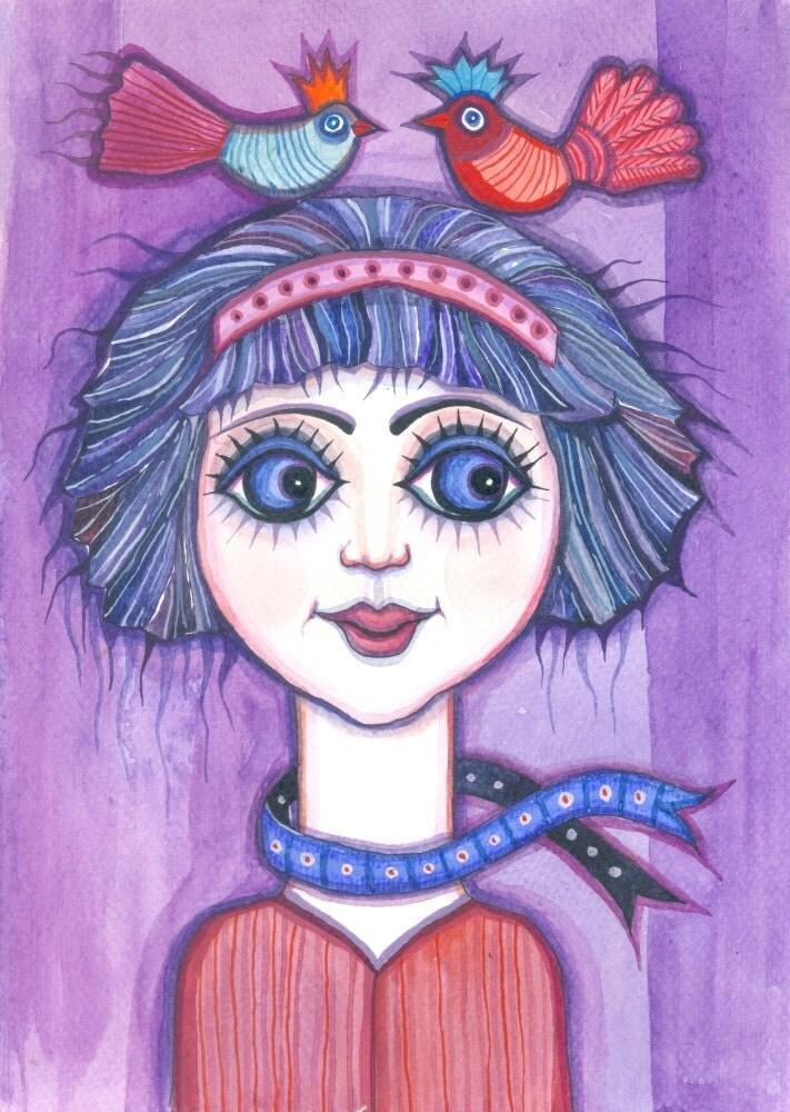 Springtime Girl - original watercolor painting - fine art - purple - blue- original illustration - molMolly