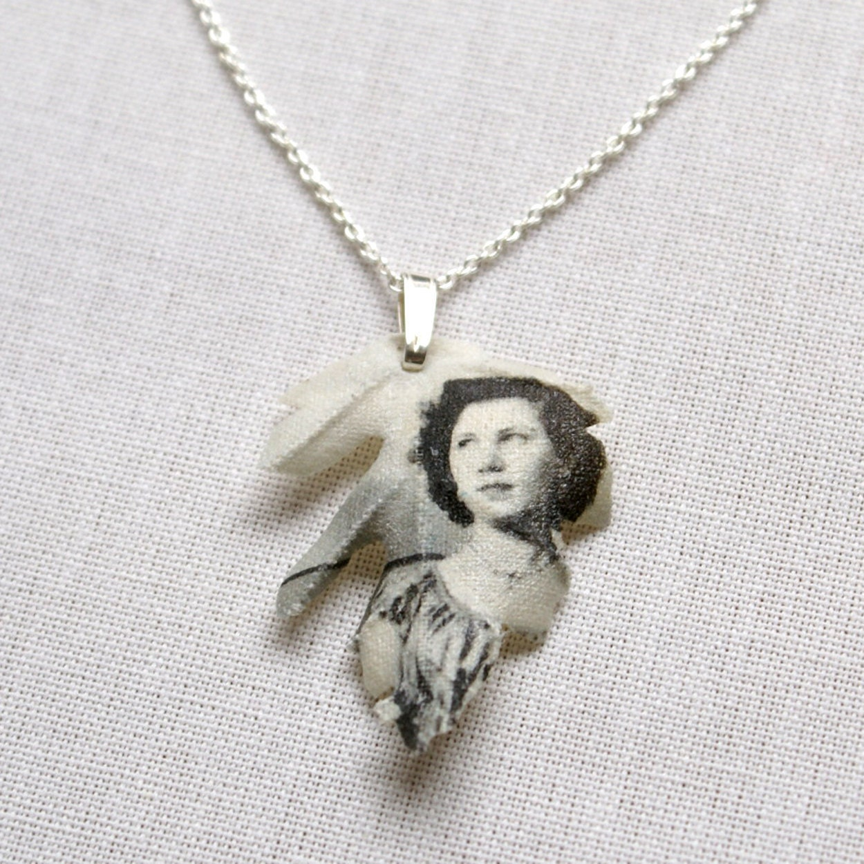 Custom made silver necklace with Oak leaf pendant printed with your photograph