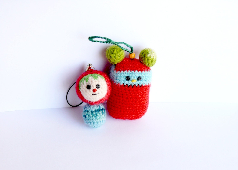 Keychain keyring amigurumi crochet Set of two by anekkashop