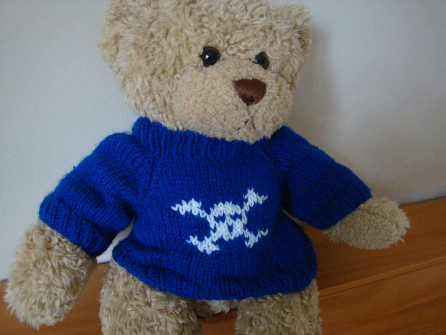 Teddy Bear Sweater  Hand knitted  Royal Blue with Skull and Crossbones