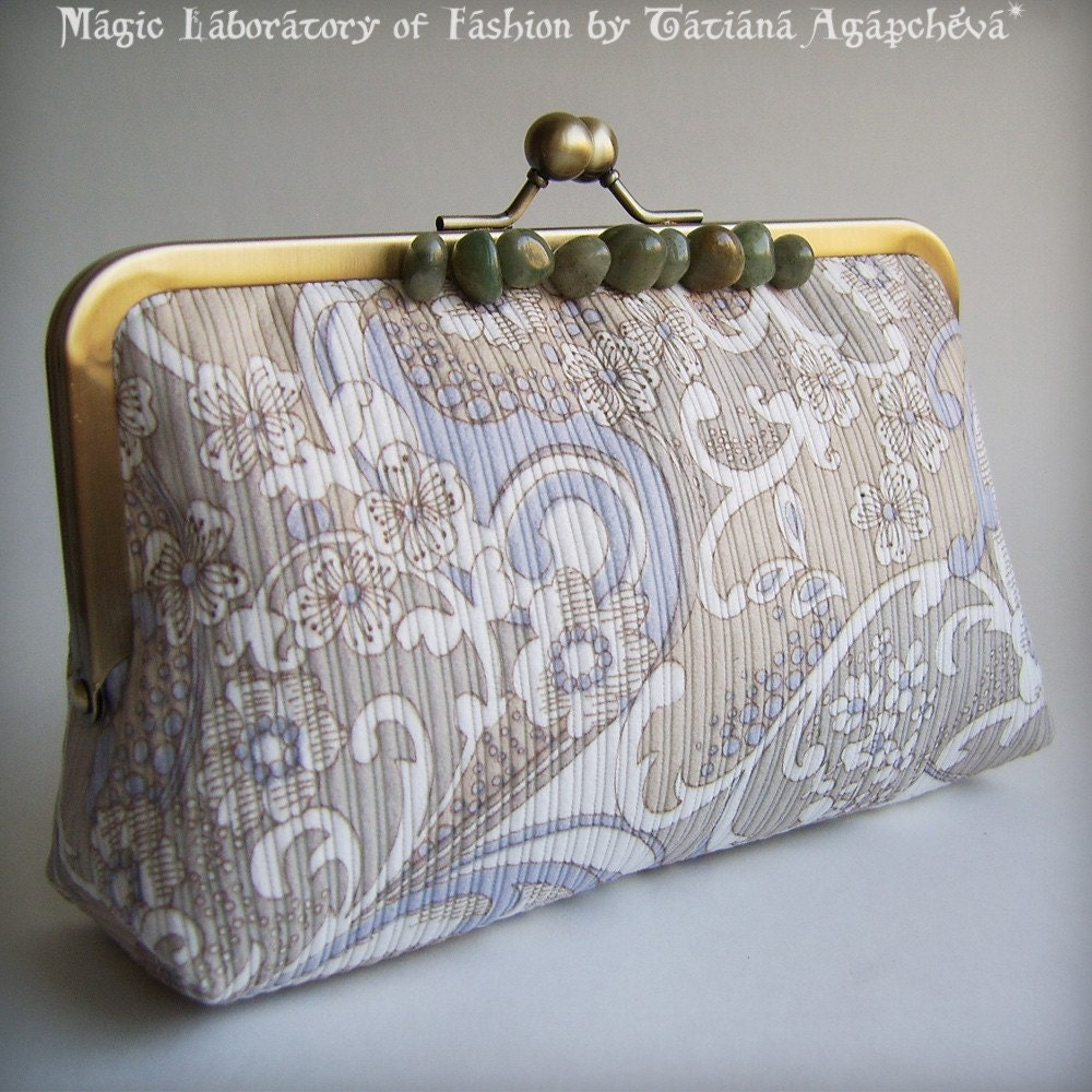 ALMOND and JADE Trendy Velvet Clutch lined with Linen by TianaCHE