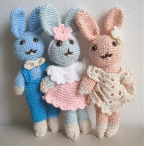 Amelie  Lovely Crocheted Bunny Rabbit Doll by SunnyFunnyCreations from etsy.com