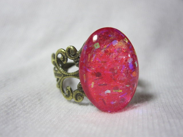 Oval Nail Polish Ring - Barbie Pink, Iridescent, Opal, Aurora Borealis Hexes, Bars And Square Glitter Sparkles Scrollwork Ring, Valentine